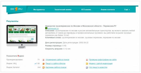 Megaindex вложился в бесплатный сервис анализа сайтов be1.ru