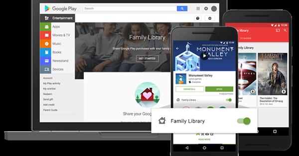 В Google Play появится семейная библиотека
