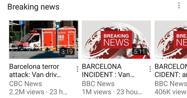 YouTube тестирует новый раздел «Breaking News»