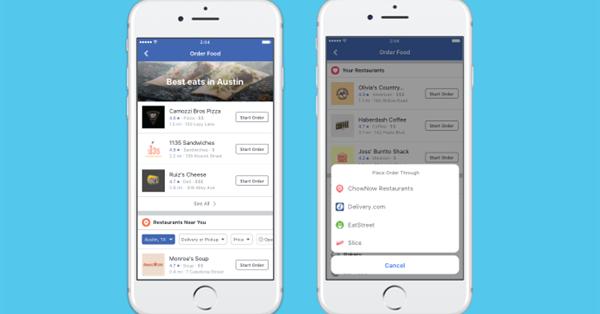 Facebook добавил новый раздел для заказа еды на дом