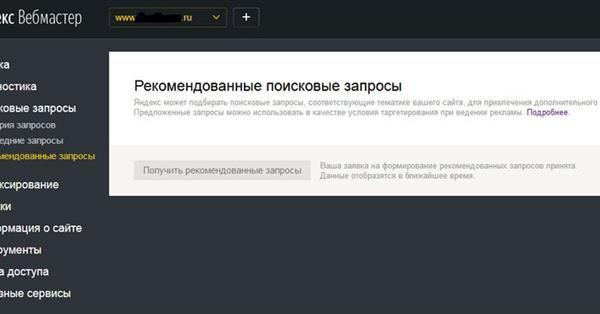 Расскажите Яндексу про «Поисковые запросы»