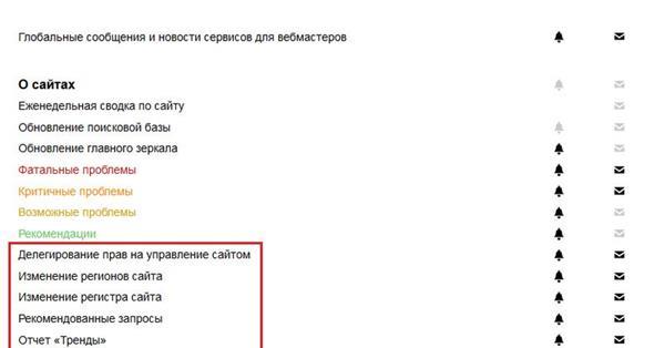 Яндекс.Вебмастер обновил раздел с уведомлениями