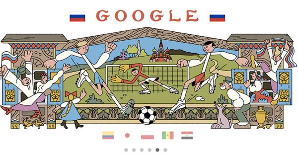 Google создал серию дудлов, посвященных Чемпионату мира по футболу