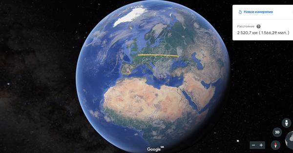 В Google Планета Земля появился инструмент для измерения расстояний и площади