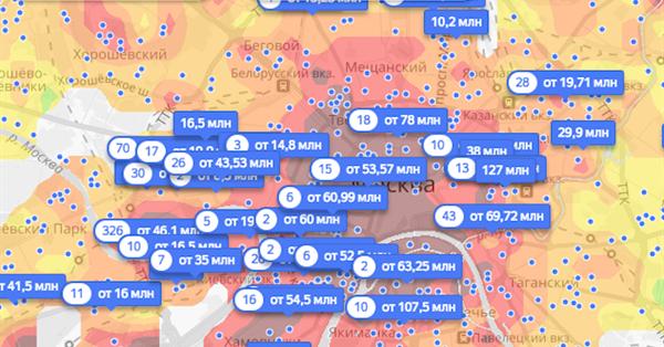 На Яндекс.Недвижимости появились тепловые карты цен на жилье