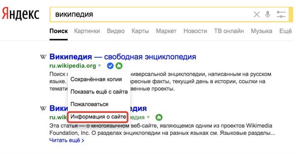 Яндекс отобразитхарактеристики сайта на выдаче ввиде специальных меток
