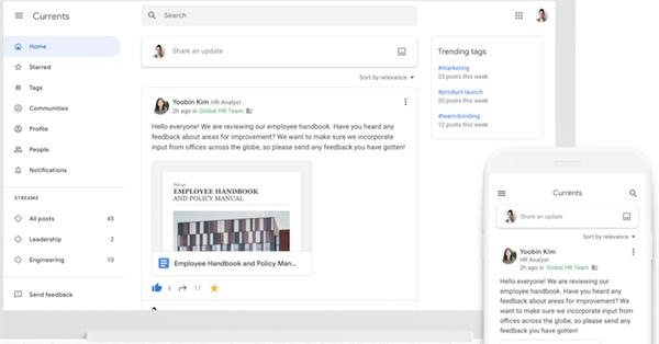 Google запустил новый сервис Currents на базе закрытого Google+