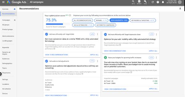 Google Ads добавил новые рекомендации для показателя оптимизации