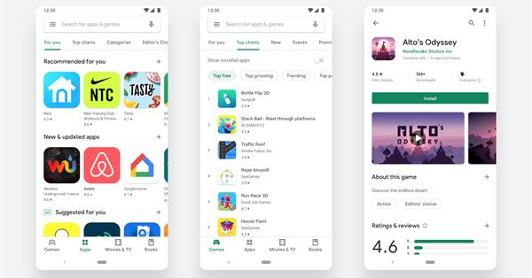 Приложение Google Play получило новый дизайн