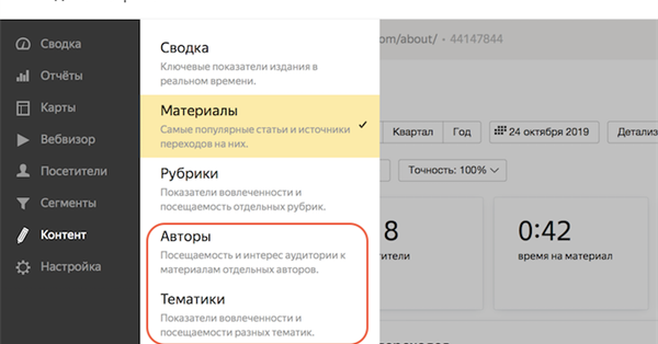 В Яндекс.Метрике появились наглядные отчеты по авторам и тематикам