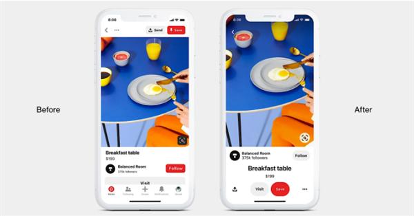 Pinterest обновил дизайн мобильных приложений