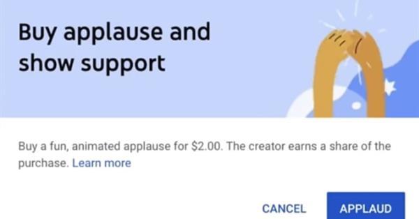 """YouTube тестирует новую функцию монетизации - """"аплодисменты"""""""
