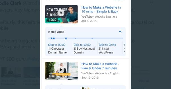 Google тестирует показ Key Moments в нескольких видео в результатах поиска