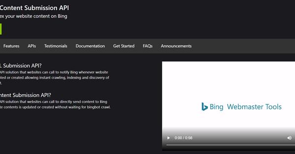 Bing запустил новый портал с информацией по API для отправки URL и контента в индекс