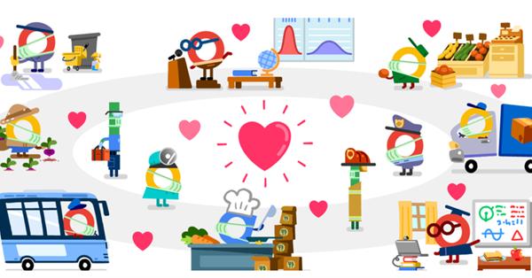 Google создал серию дудлов в честь работников служб жизнеобеспечения