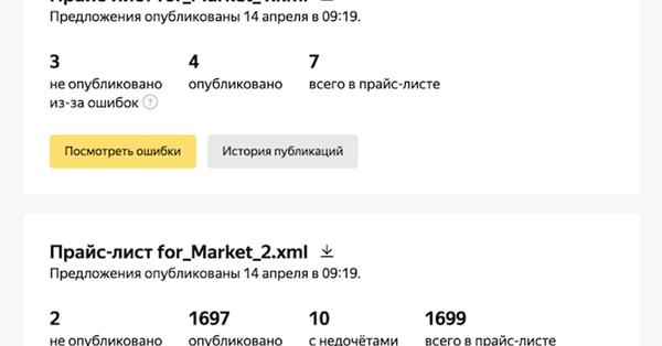В личном кабинете Яндекс.Маркета обновился отчет по индексации