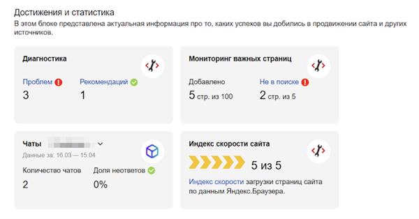 В блоке Достижения и статистика Яндекс.Вебмастера появился индекс скорости сайта