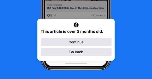 Facebook будет предупреждать о старых статьях при репостах