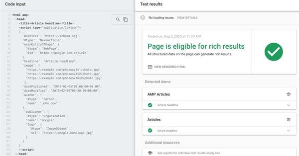 Инструмент проверки расширенных результатов Google начал поддерживать разметку Article