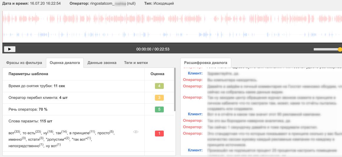 Пример работы Speech Analytics