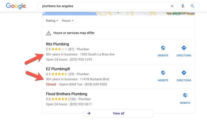 Google начал показывать, как давно компании находятся на рынке