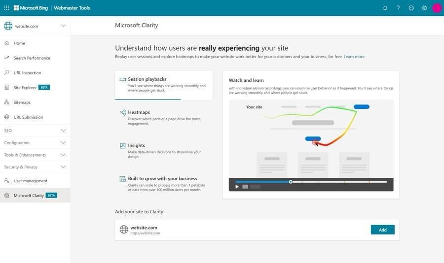 Сервис Bing Webmaster Tools получил интеграцию с Clarity