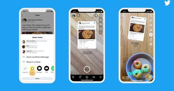 Twitter позволил пользователям делиться твитами в Snapchat
