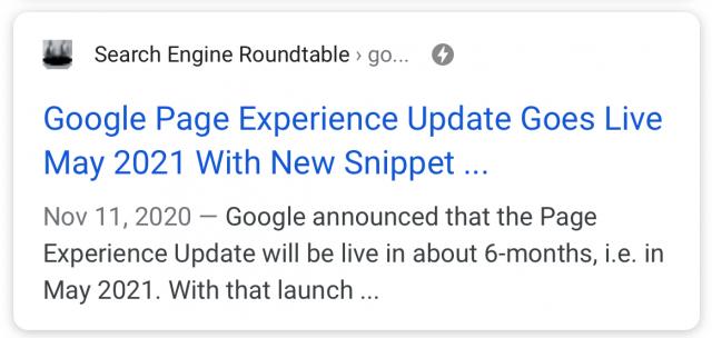 Google тестирует визуальный индикатор для страниц с хорошим UX