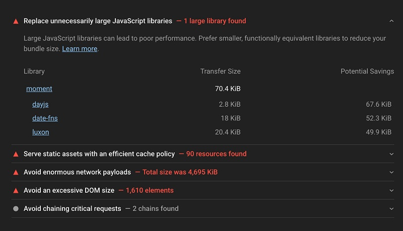 Google Lighthouse теперь рекомендует альтернативные JavaScript-библиотеки