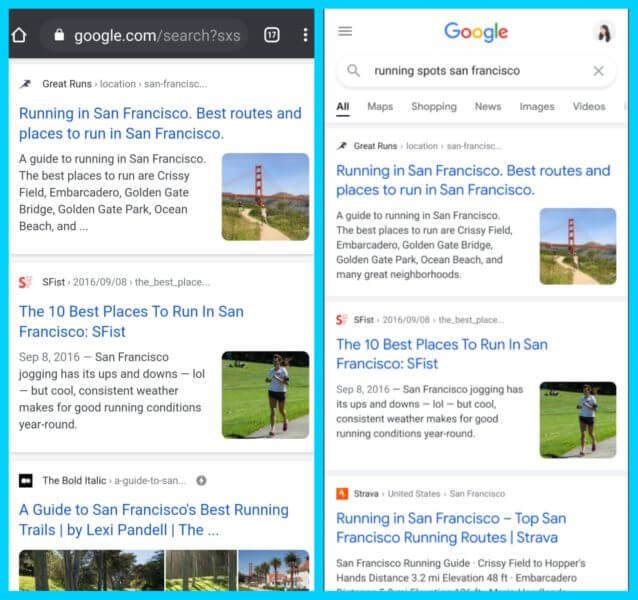 Google запустил новый дизайн результатов поиска на мобильных устройствах