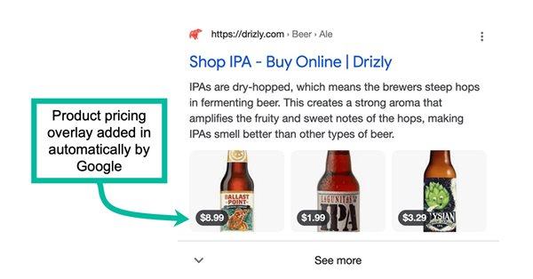 Google тестирует новые варианты оформления для страниц категорий товаров в SERP
