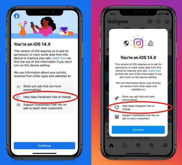 Facebook и Instagram начали просить пользователей iOS разрешить отслеживание