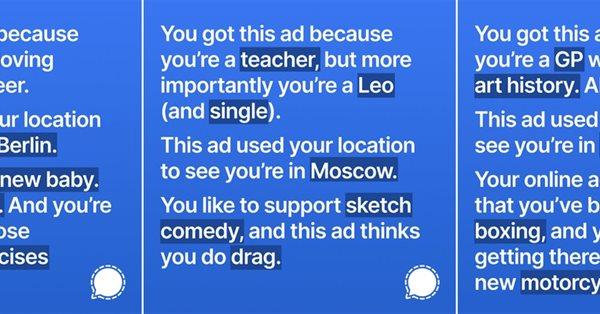 Facebook заблокировал рекламу Signal с попыткой показать, сколько данных собирается для таргетинга