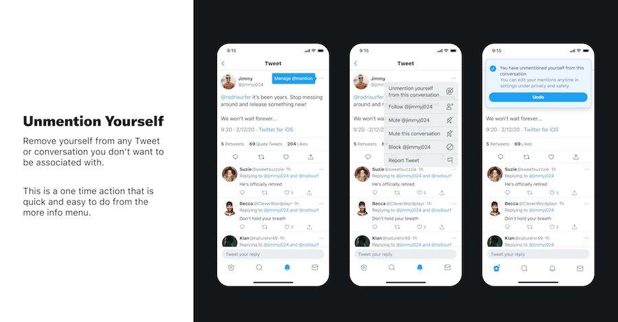 Twitter разрабатывает функцию отмены упоминания в чужих твитах
