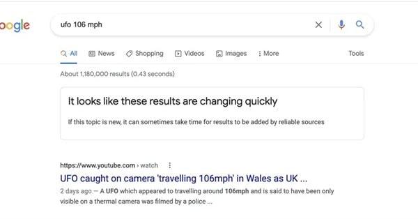 Google начал предупреждать об отсутствии надежных результатов по запросу