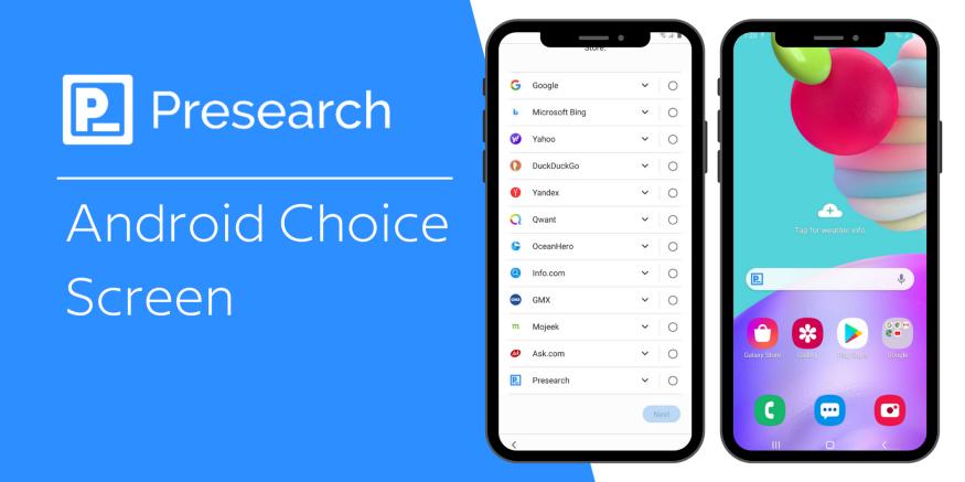 Presearch вошла в список поисковых систем для выбора на Android в ЕС