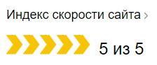 Скорость в Яндексе